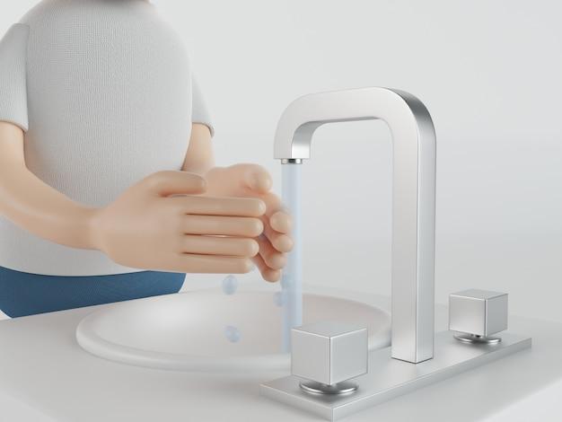 3dイラストレーション。感染を防ぐために手を洗います。 covid19。