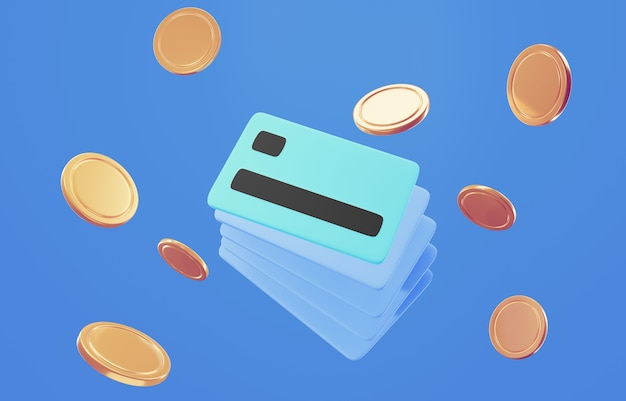 3d credit card icon for contactless payments, online payment concept.