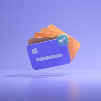Значок 3d кредитной карты для бесконтактных платежей, концепция онлайн-платежей. 3d визуализация иллюстрации