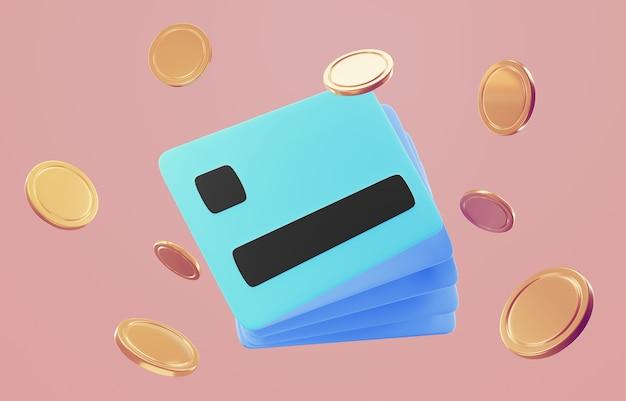 Значок 3d кредитной карты для бесконтактных платежей, концепция онлайн-платежей.