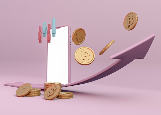 3d cryptocurrency rendering design Free Photo