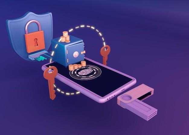 3d cryptocurrency rendering design