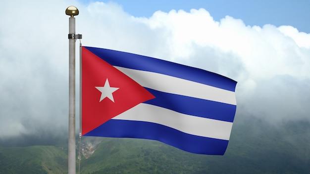 3d, 산에서 바람에 물결치는 쿠바 국기. 쿠바 깃발이 부는 부드럽고 매끄러운 실크. 천 패브릭 질감 소위 배경입니다. 국경일 및 국가 행사 개념에 사용하십시오.