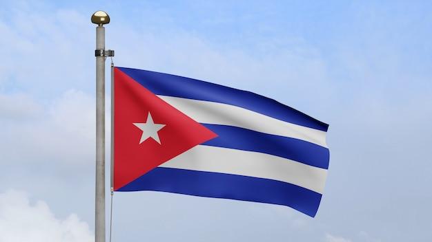3d, 푸른 하늘과 구름과 함께 바람에 물결치는 쿠바 국기. 쿠바 깃발이 부는 부드럽고 매끄러운 실크. 천 패브릭 질감 소위 배경입니다. 국경일 및 국가 행사 개념에 사용하십시오.