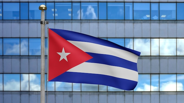 3d, 현대적인 마천루 도시와 함께 바람에 물결치는 쿠바 국기. 부드럽고 매끄러운 실크가 부는 쿠바 현수막을 닫습니다. 천 패브릭 질감 소위 배경입니다.