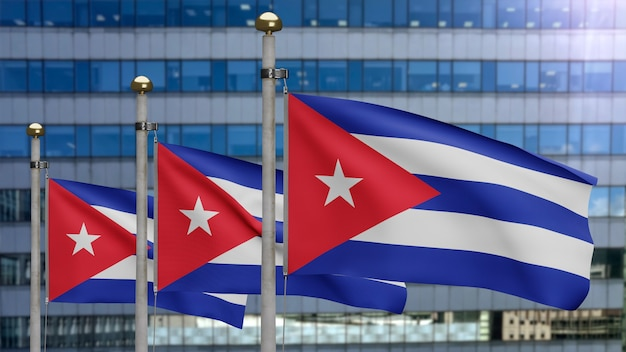 3d, 현대적인 마천루 도시와 함께 바람에 물결치는 쿠바 국기. 쿠바 깃발이 부는 부드럽고 매끄러운 실크. 천 패브릭 질감 소위 배경입니다. 국경일 및 국가 행사 개념에 사용하십시오.