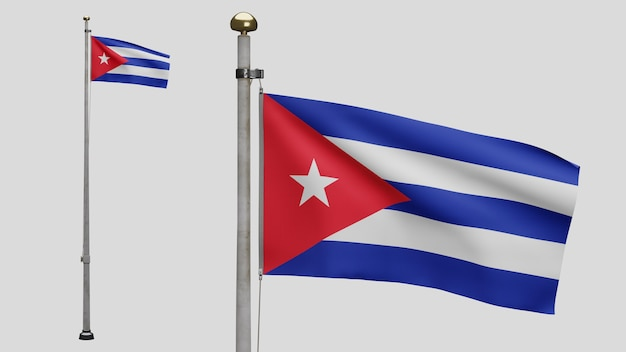 3d, cuban flag waving on wind. close up of cuba banner blowing, soft and smooth silk. cloth fabric texture ensign background. use it for national day and country occasions concept.