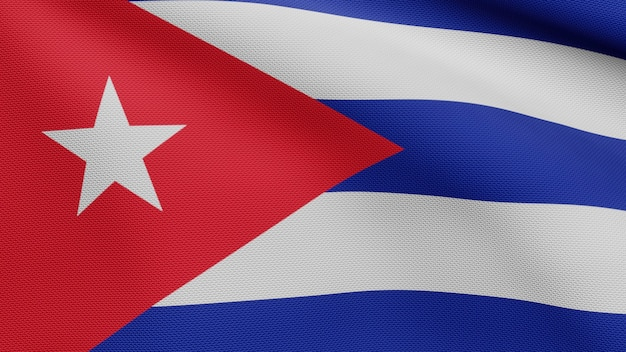 3d, cuban flag waving on wind. close up of cuba banner blowing, soft and smooth silk. cloth fabric texture ensign background.
