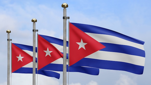 3d, cuban flag waving on wind with blue sky and clouds. close up of cuba banner blowing, soft and smooth silk. cloth fabric texture ensign background.
