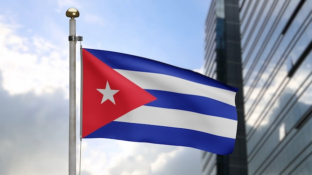 3d, cuban flag waving on wind with modern skyscraper city. cuba banner blowing, soft and smooth silk. cloth fabric texture ensign background. use it for national day and country occasions concept.