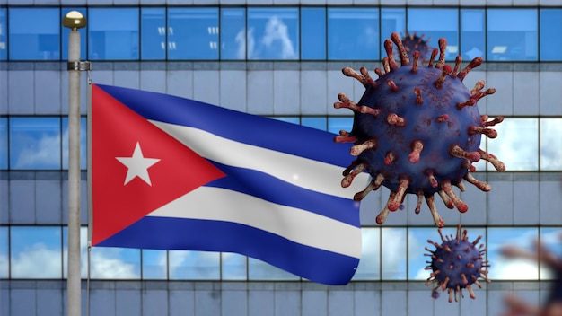3d, cuban flag waving with modern skyscraper city and coronavirus outbreak as dangerous flu. influenza type covid 19 virus with national cuba banner blowing at background. pandemic risk concept