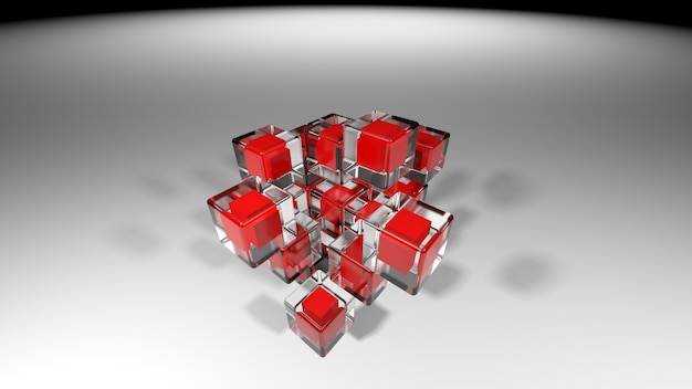 3d cube background illustration, large perspective abstract illustration