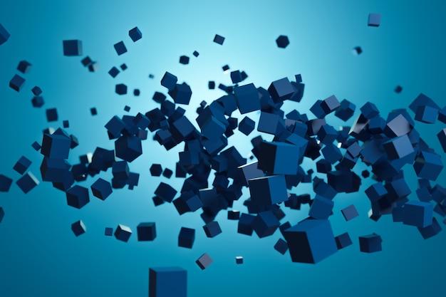 3d 큐브 벽지 디자인, 파란색 배경에 파란색 큐브, 3d 그림 렌더링