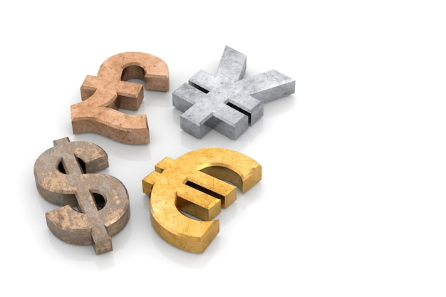 3d通貨記号のバナーデザイン。 3dレンダリング。