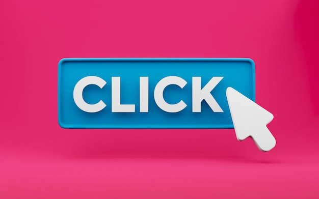 3d cursor clicks the button with text click. minimal concept isolated. 3d rendering