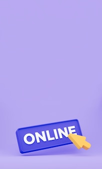 3d cursor clicks the online button. vertical minimal concept isolated. 3d rendering