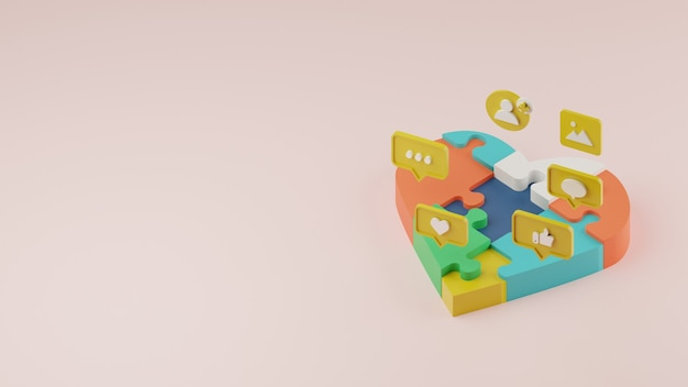 3d customer loyality and brand awarenes in social media concept with heart puzzle.