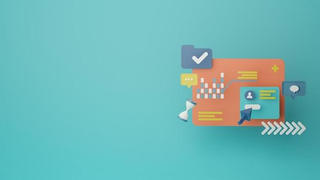 3d 고객 설문 조사 데이터 분석 배경 렌더링 이미지