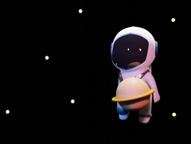 黒の背景を持つ3dかわいい宇宙飛行士キック惑星