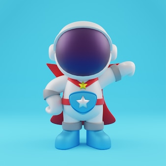 3d cute astronaut super hero cartoon icon illustration. science technology icon concept isolated premium design. flat cartoon style