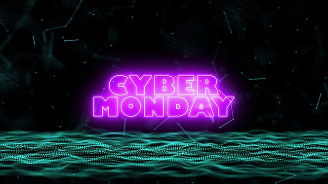 3D Cyber Monday abstract blue blurred geometry wireframe network and connecting node