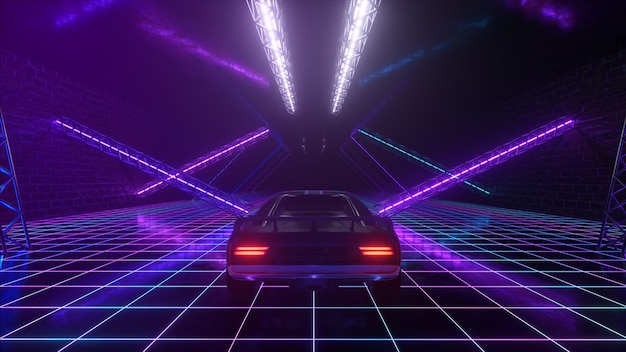 3d cyberpunk retro style. synthwave. the car is driving in the neon tunnel. 3d illustration