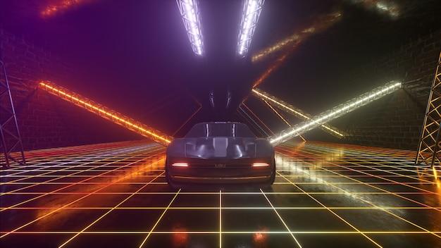 3dサイバーパンクレトロスタイル。シンセウェイブ。車はネオントンネルを走っています。 3dイラスト