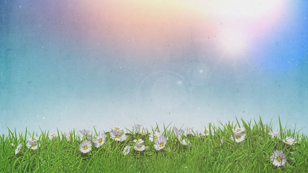 3d daisies in grass sunny sky with grunge retro effect