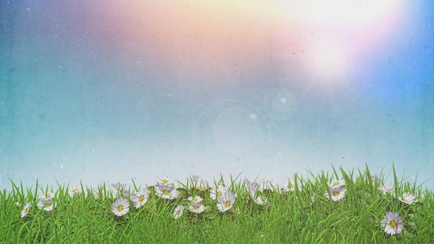 Margherite 3d in cielo soleggiato dell'erba con retro effetto di lerciume