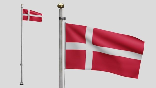 3d, датский флаг развевается на ветру. крупным планом дании баннер дует, мягкий и гладкий шелк. предпосылка прапорщика текстуры ткани ткани. используйте его для концепции национального дня и страны.