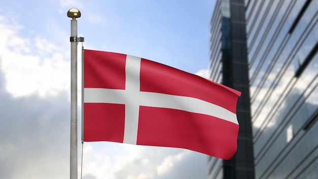 3d, датский флаг развевается на ветру с современным городом-небоскребом. раздувание флага дании, мягкий и гладкий шелк. предпосылка прапорщика текстуры ткани ткани. используйте его для концепции национального дня и страны.