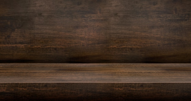 3d dark wood table textured for product display