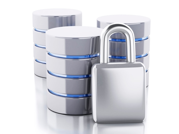 3d data storage with padlock