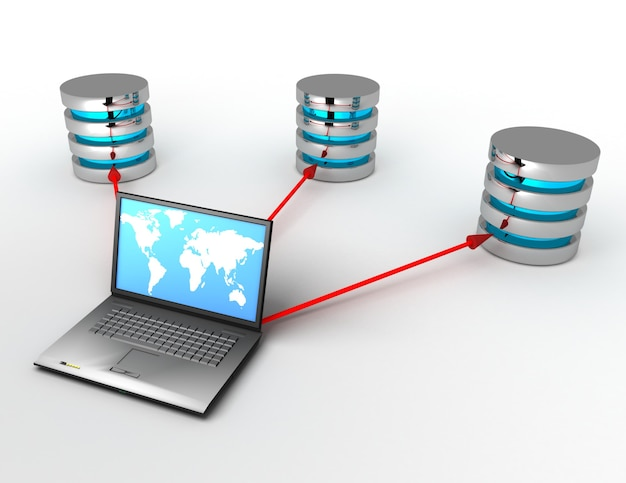 3d database concept with laptop