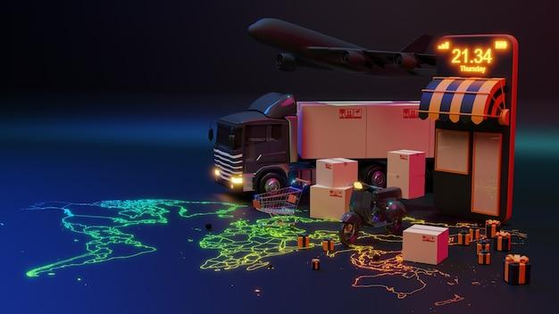 Грузовик доставки 3d, загруженный картонной коробкой и смартфоном с указателем карты мира. концепция службы доставки и отгрузки.
