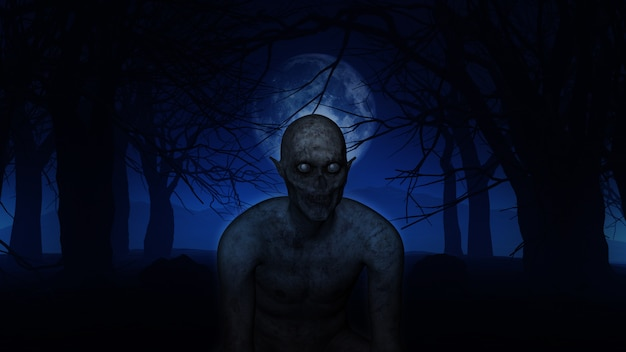 짜증 숲에서 3d 악마 그림