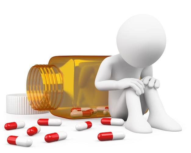 3d depressed man taking pills