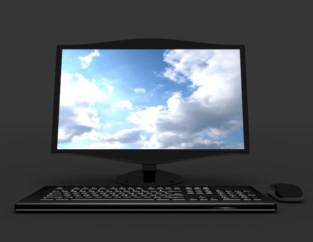 3dデスクトップコンピュータの概念。 3dレンダリングされたイラスト