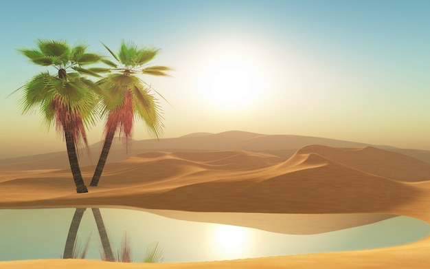 Deserto 3d e palme