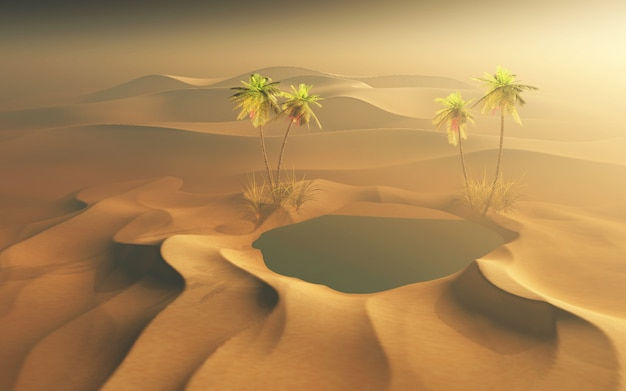 Scena del deserto 3d con oasi d'acqua e palme