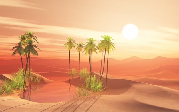 3d desert scene with palm tree oasis