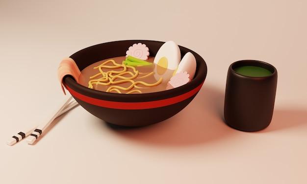 3d design illustration ramen green tea
