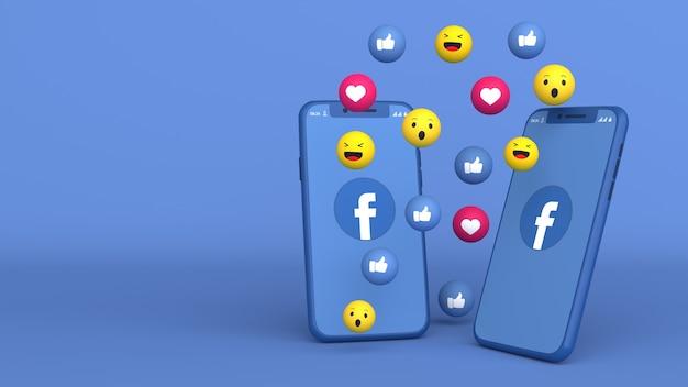 3d дизайн двух телефонов с всплывающими иконками facebook