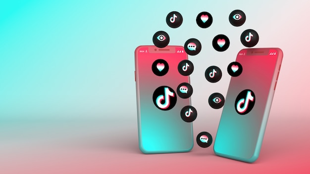 Tiktok 팝업 아이콘이있는 두 개의 전화의 3d 디자인