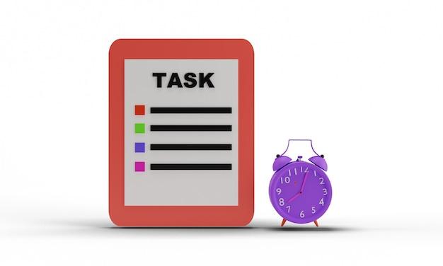 3d design of task board and alarm clock illustration on white background
