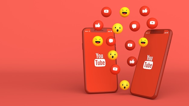 3d design of two phones with youtube popping up icons