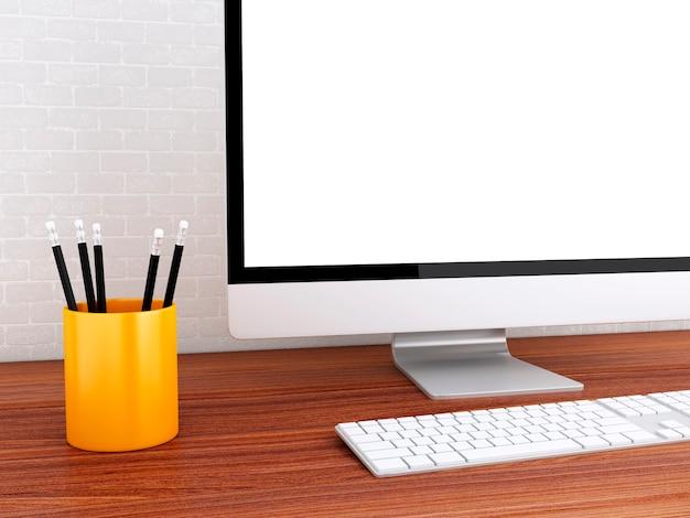 3d desktop with computer. mock up