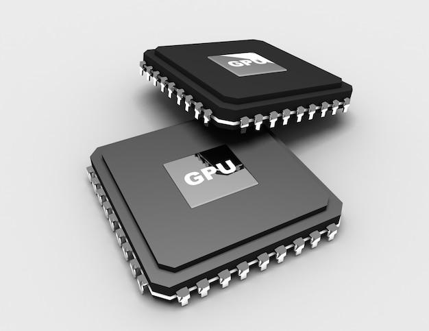 3d подробный пустой микрочип на белом фоне