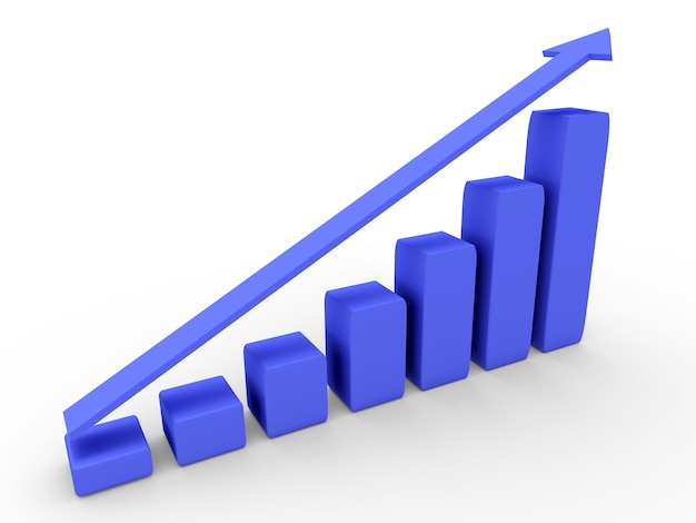 3d-диаграмма с растущим прогрессом. бизнес-концепции