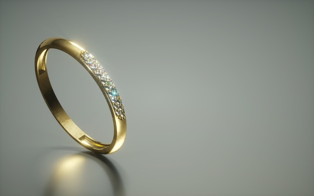 3d diamond ring on dark reflective background with copy space